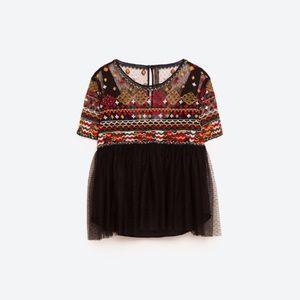 Zara NWT Embroidered Boho Crop Top M